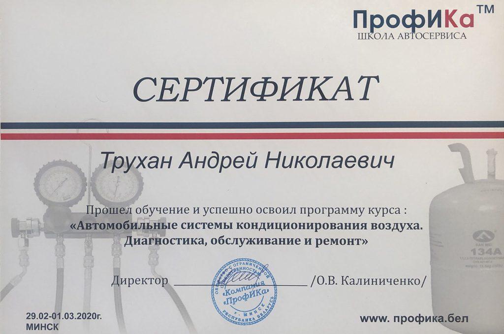 заправка, обслуживание и ремонт кондиционеров авто - сертификат rkpp.by